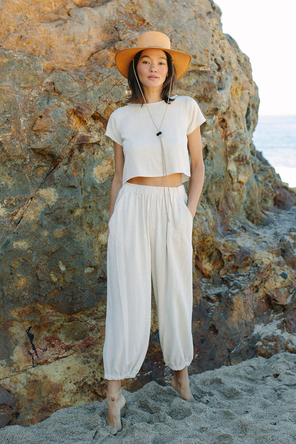 Cropped Linen Keith Top