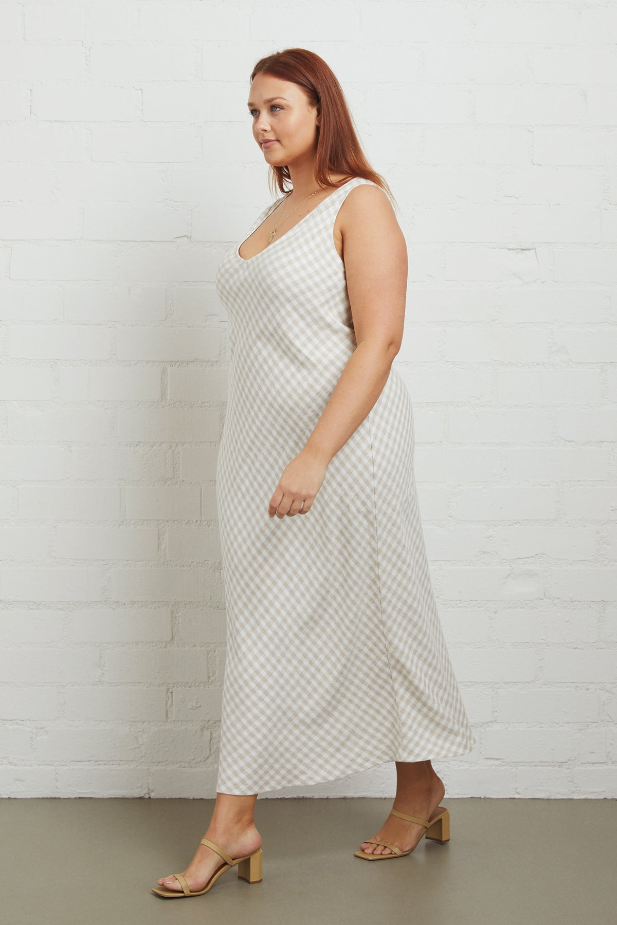 Linen Bias Dress - Gingham, Plus Size