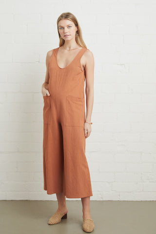 Linen Canvas Remy Jumpsuit - Auburn, Maternity