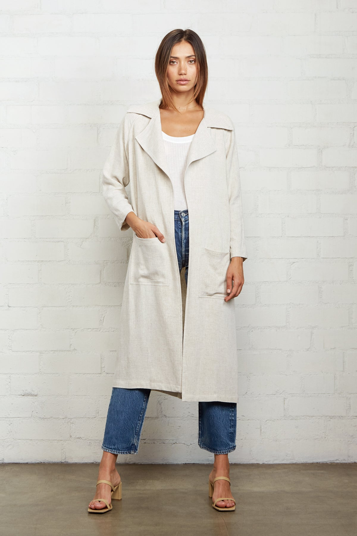 Linen Cary Trench - Natural