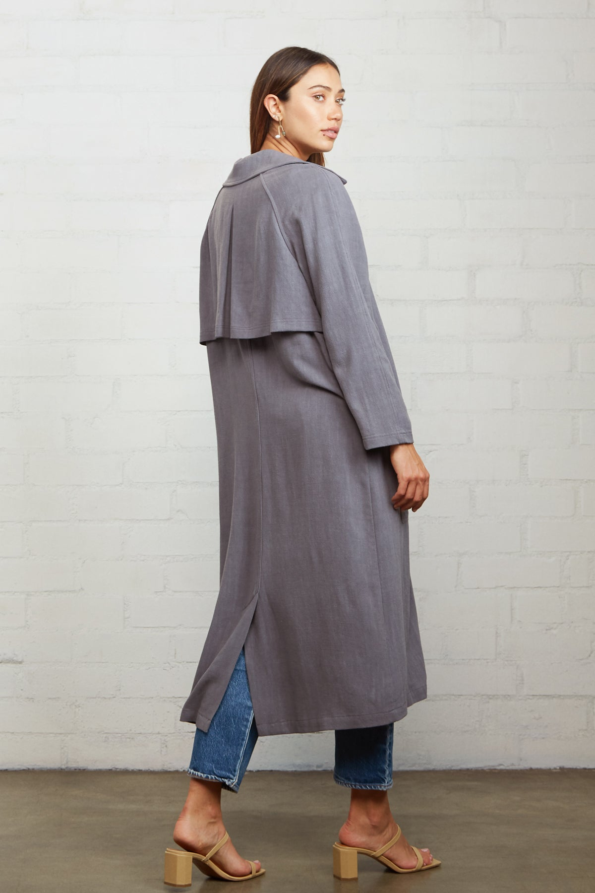 Linen Cary Trench - Smoke