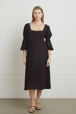 Linen Doreen Dress - Black, Maternity