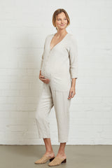 Linen Troy Jumpsuit - Natural, Maternity