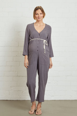 Linen Troy Jumpsuit - Smoke, Maternity