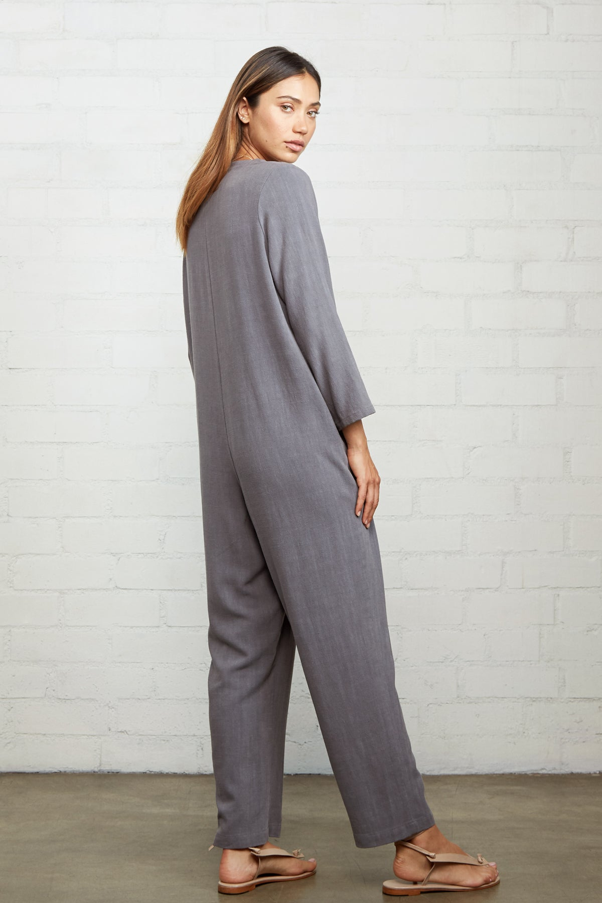 Linen Troy Jumpsuit - Smoke