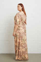 Long Caftan Dress - Palm, Plus Size