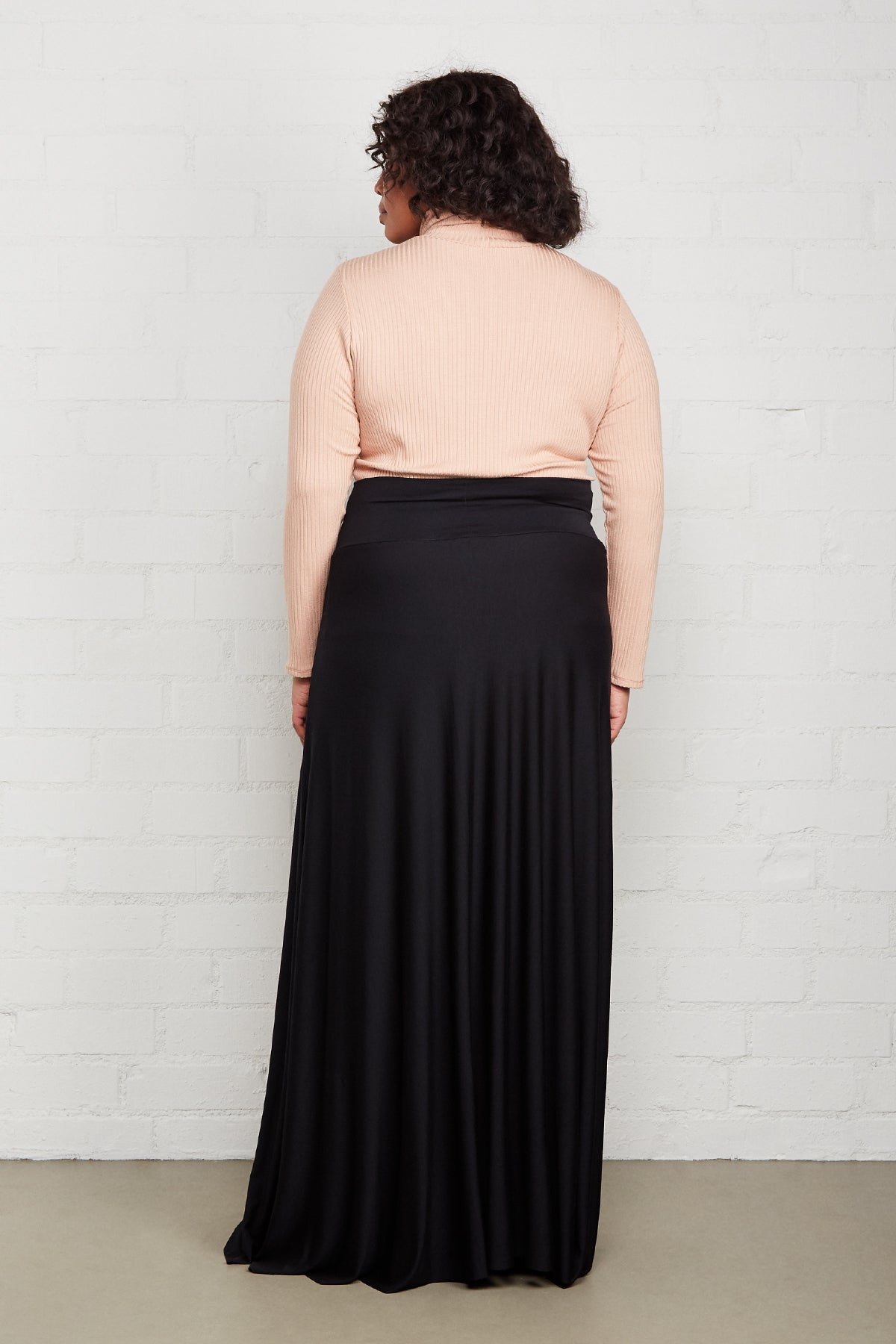 LONG FULL SKIRT - BLACK, Plus Size