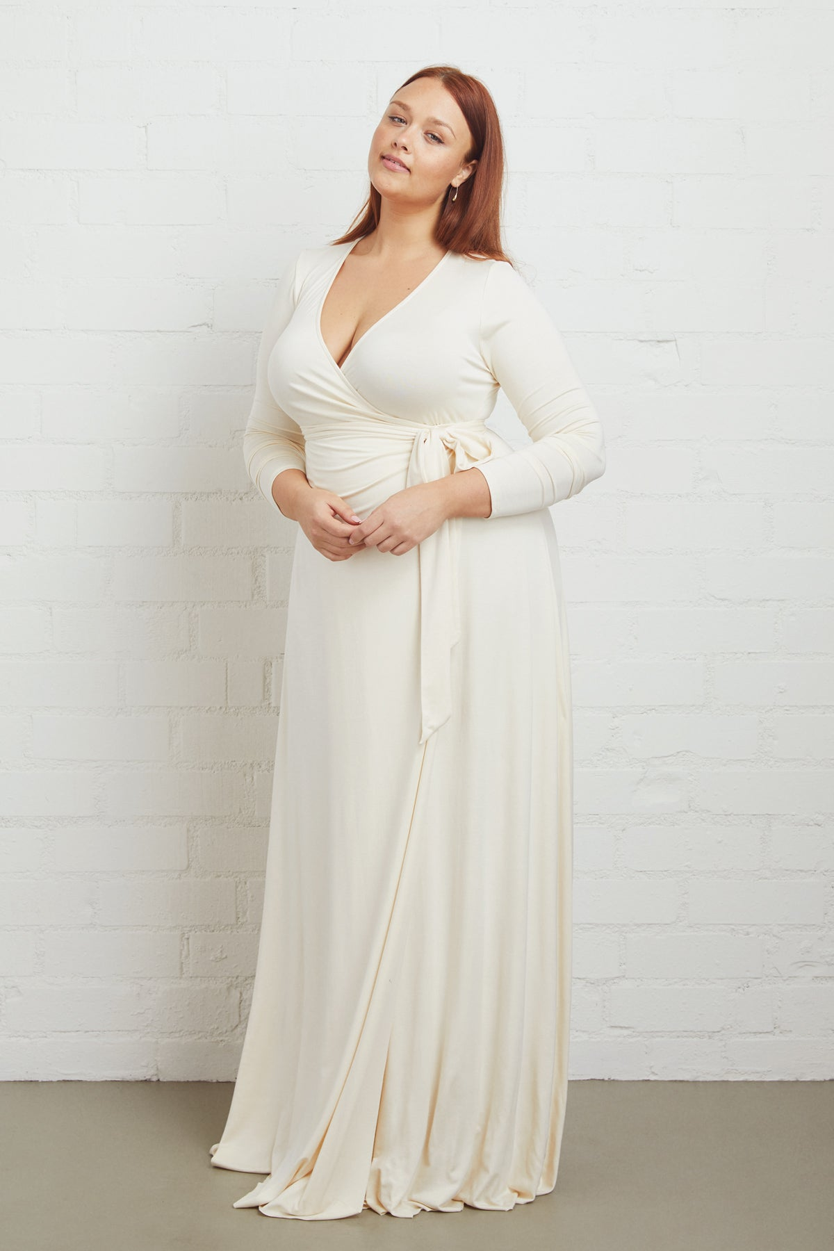 Harlow Wrap Dress - Cream, Plus Size