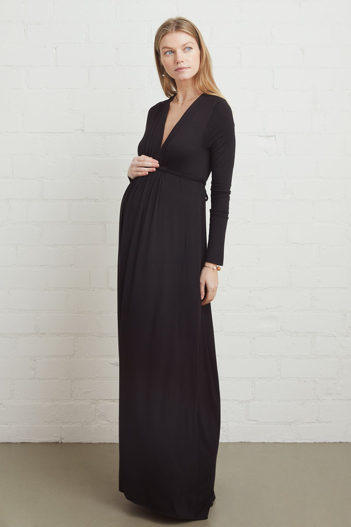 Long Sleeve Full Length Caftan - Black, Maternity