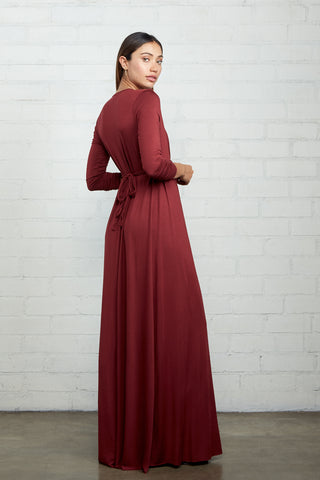 Long Sleeve Full Length Caftan Dress - Gamay