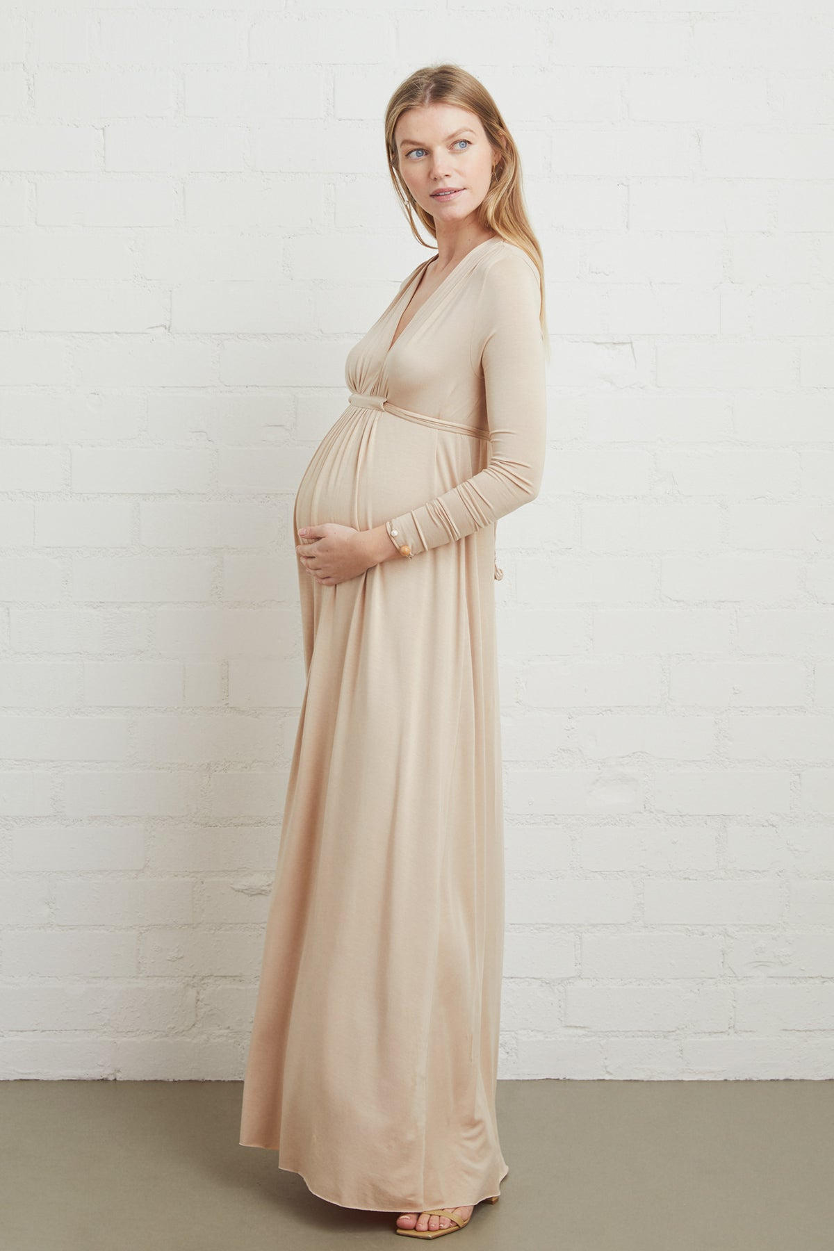Long Sleeve Full Length Caftan - Bamboo, Maternity