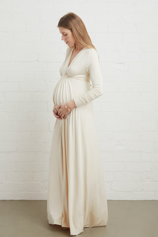 Long Sleeve Full Length Caftan - Cream, Maternity