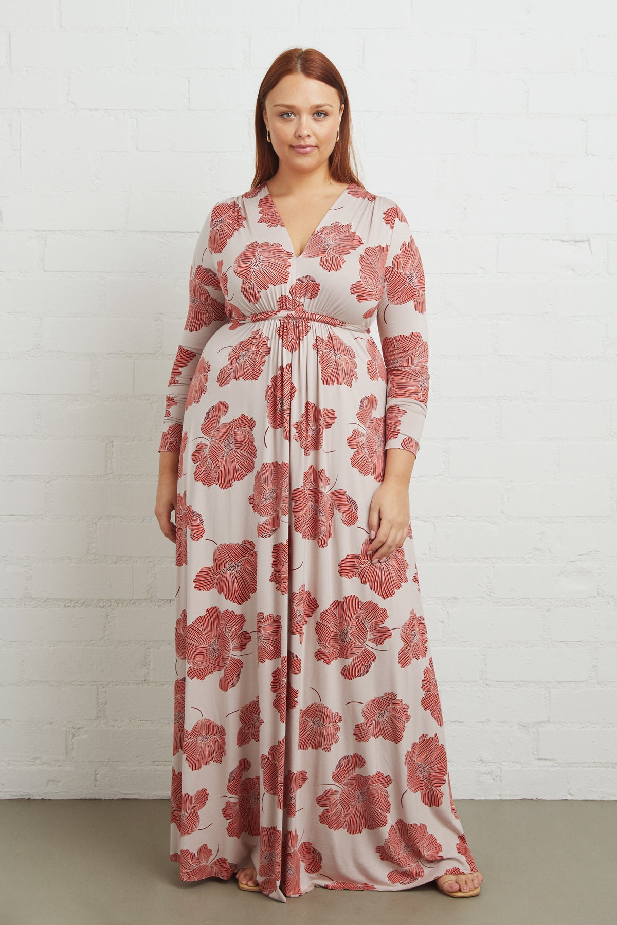 Long Sleeve Full Length Caftan Dress - Ruby Matilija, Plus Size