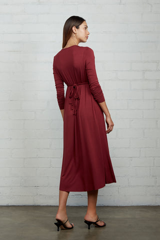 Long Sleeve Mid-Length Caftan Dress - Gamay