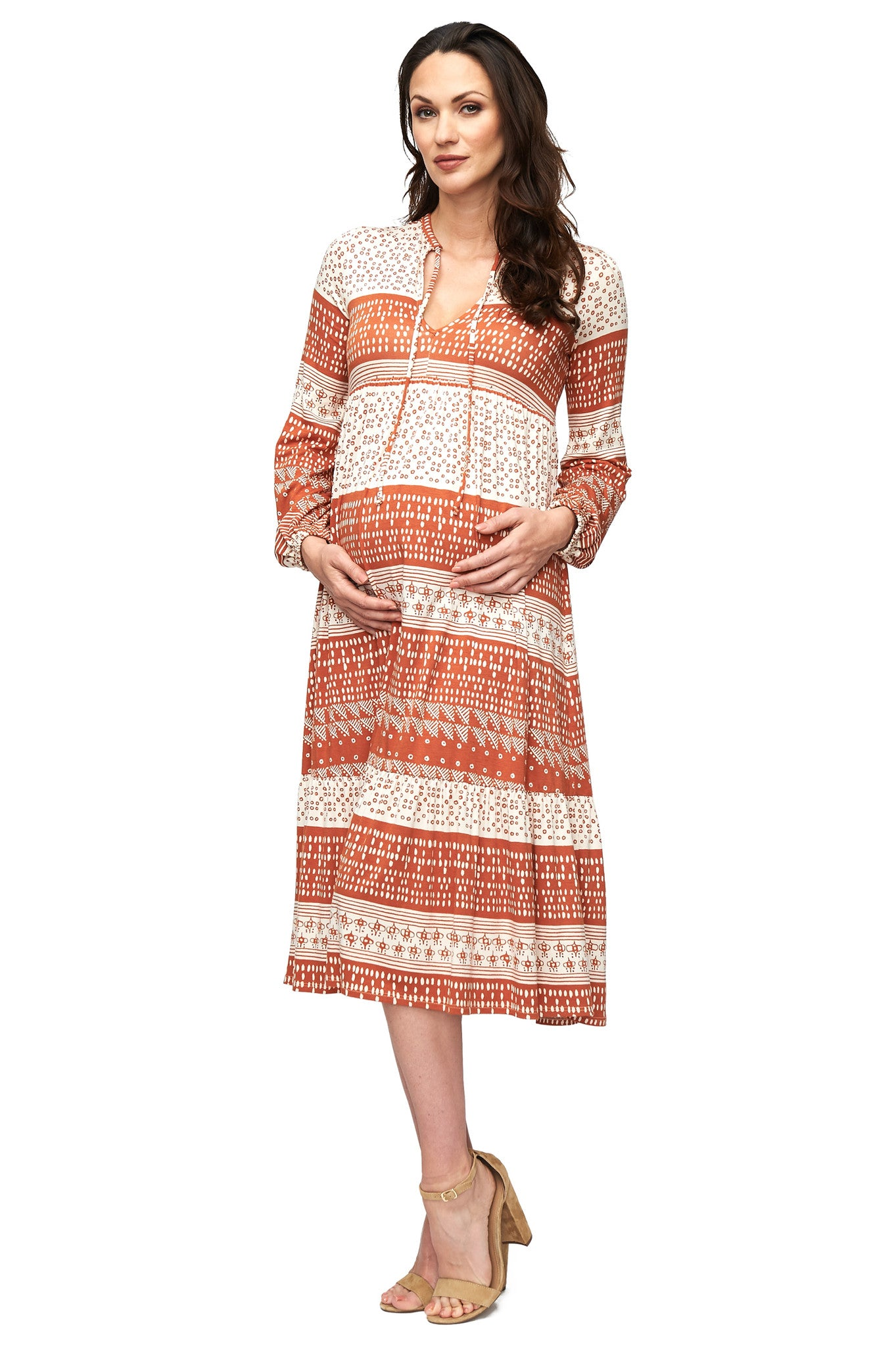 Kaemon Dress - Copper Block Print