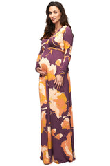Long Sleeve Full Length Caftan Print - Desert Flower