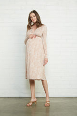 Long Sleeve Mid-Length Caftan Dress - Snake, Maternity
