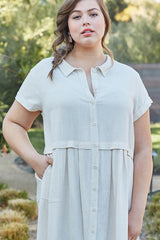Linen Andi Dress - Natural - Plus Size