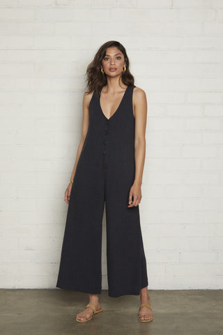 Linen Button Front Jumpsuit - Black