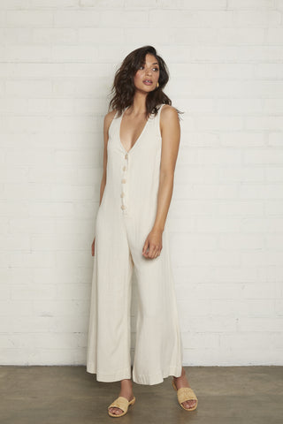 Linen Button Front Jumpsuit - Natural