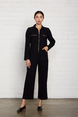 Linen Canvas Shelby Jumpsuit - Licorice
