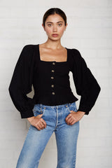 Linen Canvas Portia Top - Licorice
