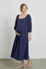 Linen Eris Dress - Indigo, Maternity