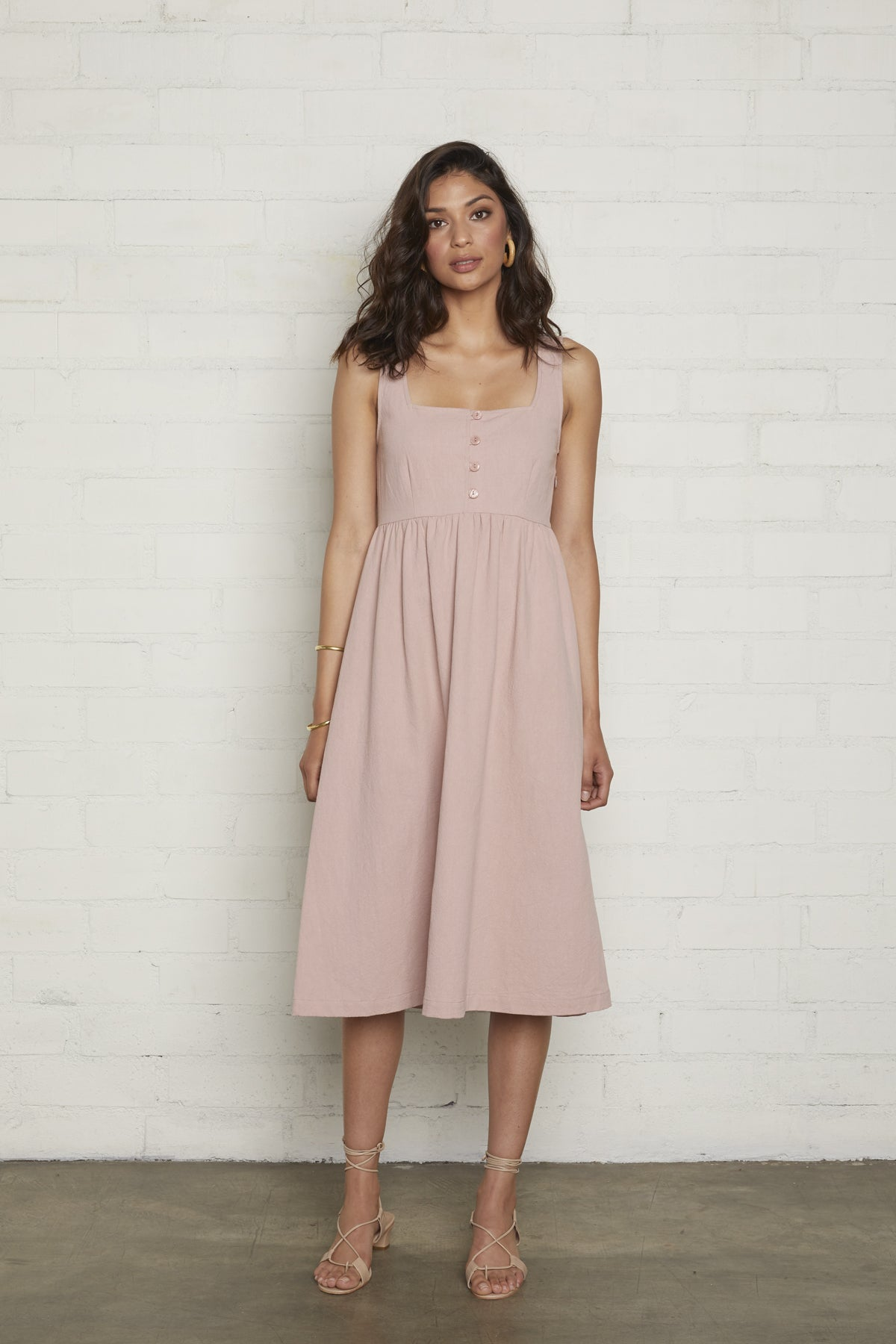 Linen Gianna Dress - Rose Quartz