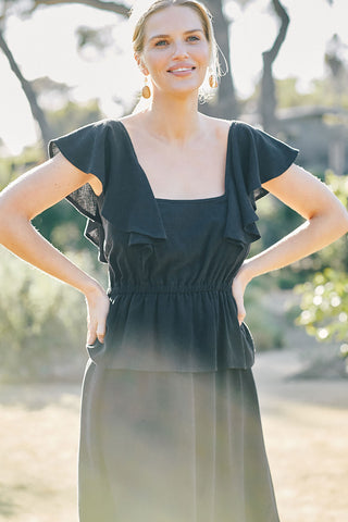 Linen Mariah Dress - Black
