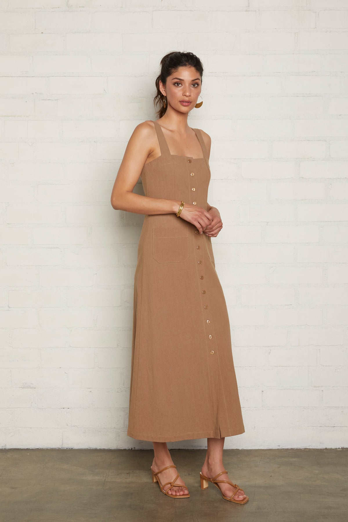 Linen Mela Dress - Hazelnut