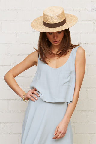 Linen Pocket Tank - Bluebell