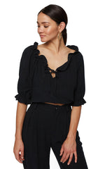 Linen Polly Top - Black