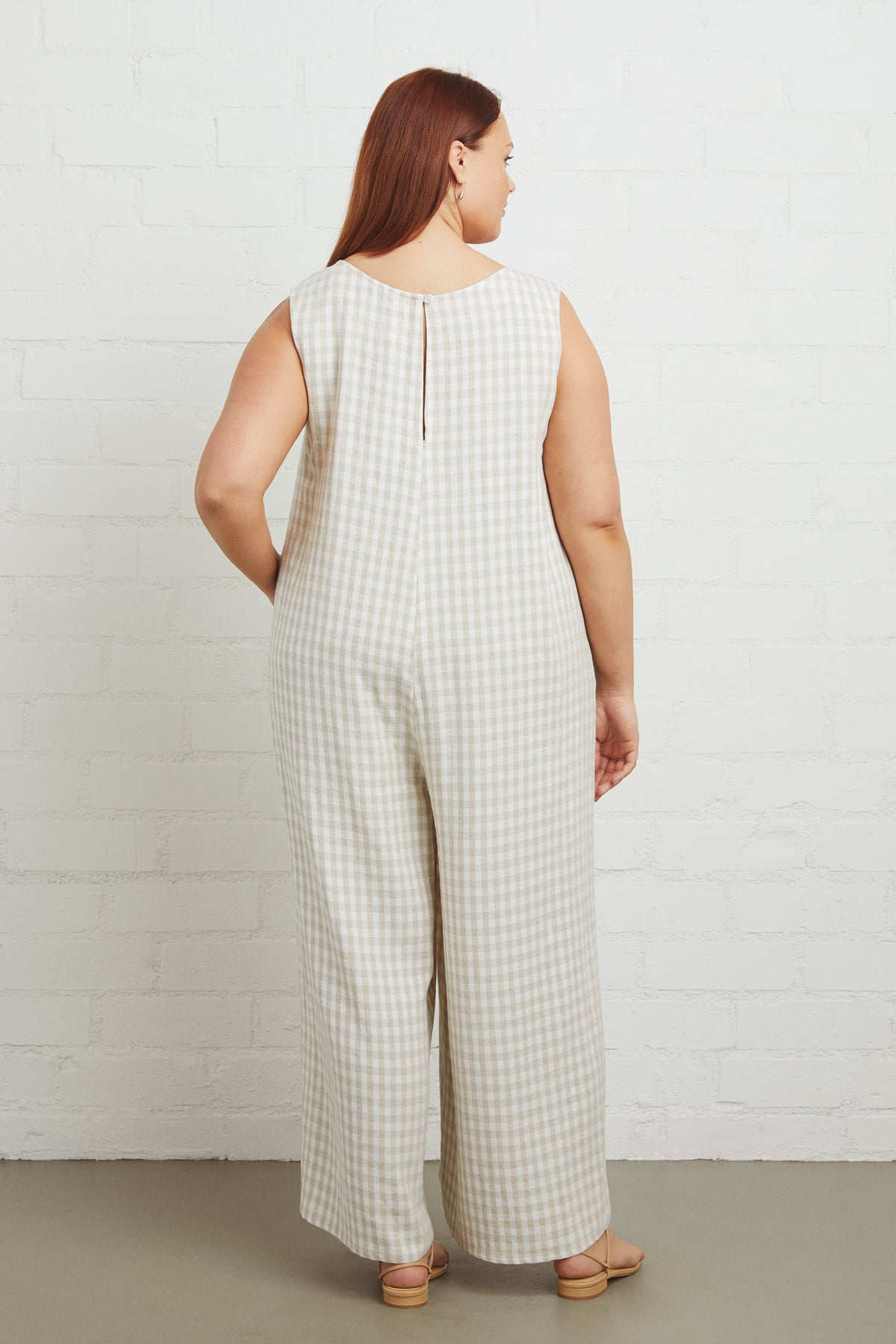 Linen Remy Jumpsuit - Gingham, Plus Size