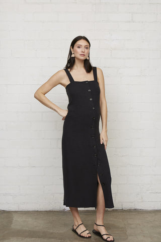 Linen Rome Dress - Black, Maternity