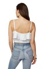 Linen Ruffle Top - White