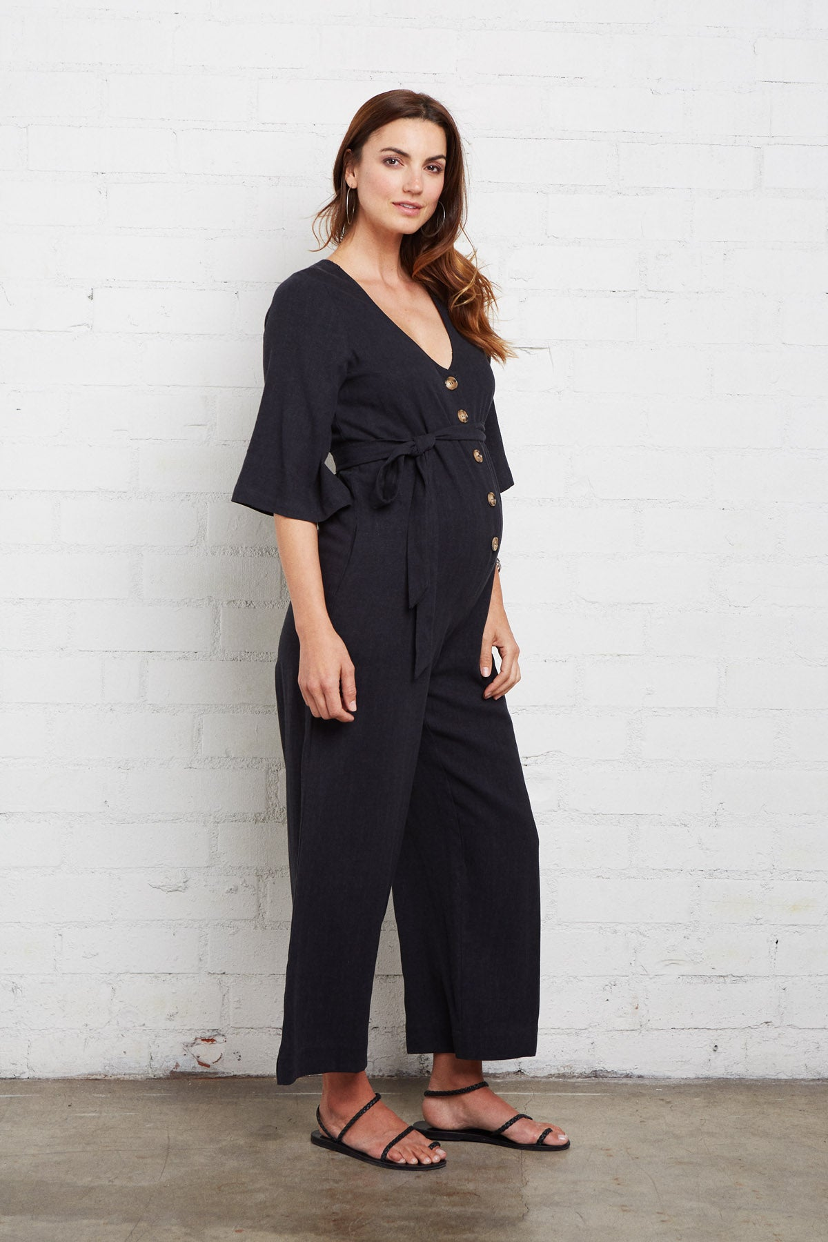 Linen Tory Jumpsuit - Black, Maternity