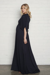 Long Caftan Dress- Black, Maternity
