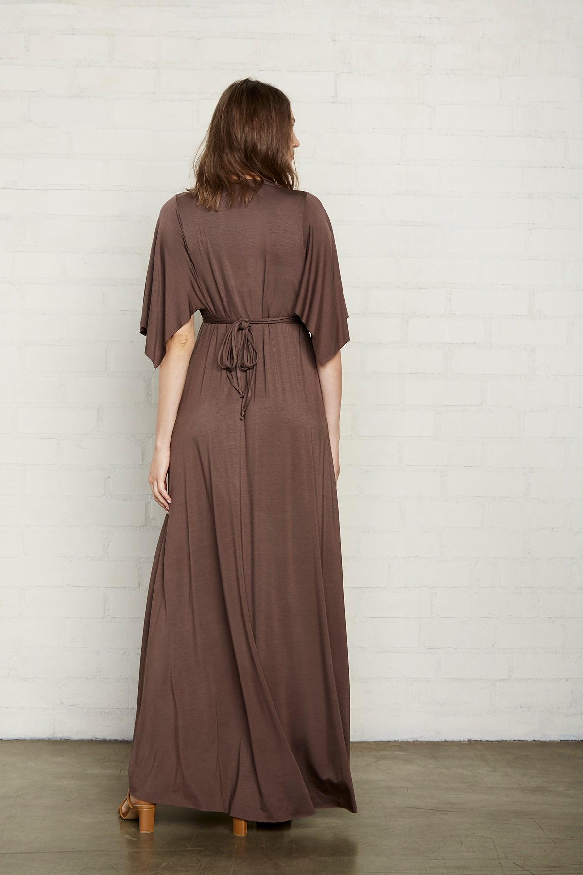 Long Caftan Dress - Cocoa, Maternity