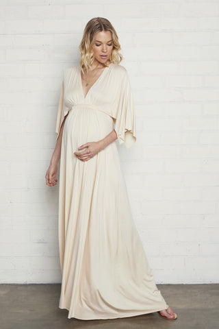 Long Caftan Dress- Cream, Maternity