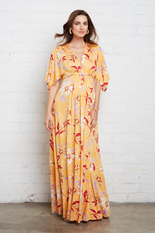 ab2b3cc0dc012 Long Caftan Dress - Daffodil Print, Maternity ...