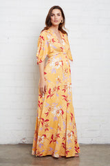 Long Caftan Dress - Daffodil Print, Maternity