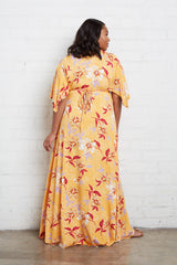 Long Caftan Dress - Daffodil Print, Plus Size
