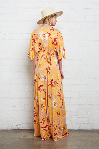 Long Caftan Dress - Daffodil Print