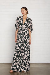 Long Caftan Dress - Evergreen Floral