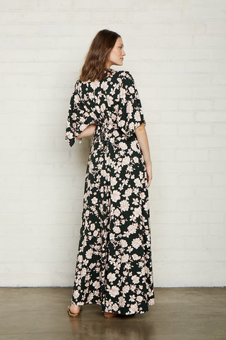 Long Caftan Dress - Evergreen Floral, Maternity