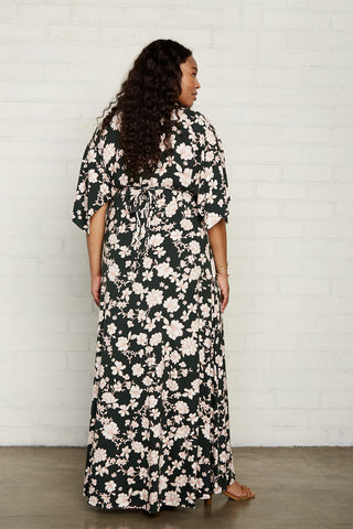 Long Caftan Dress - Evergreen Floral, Plus Size