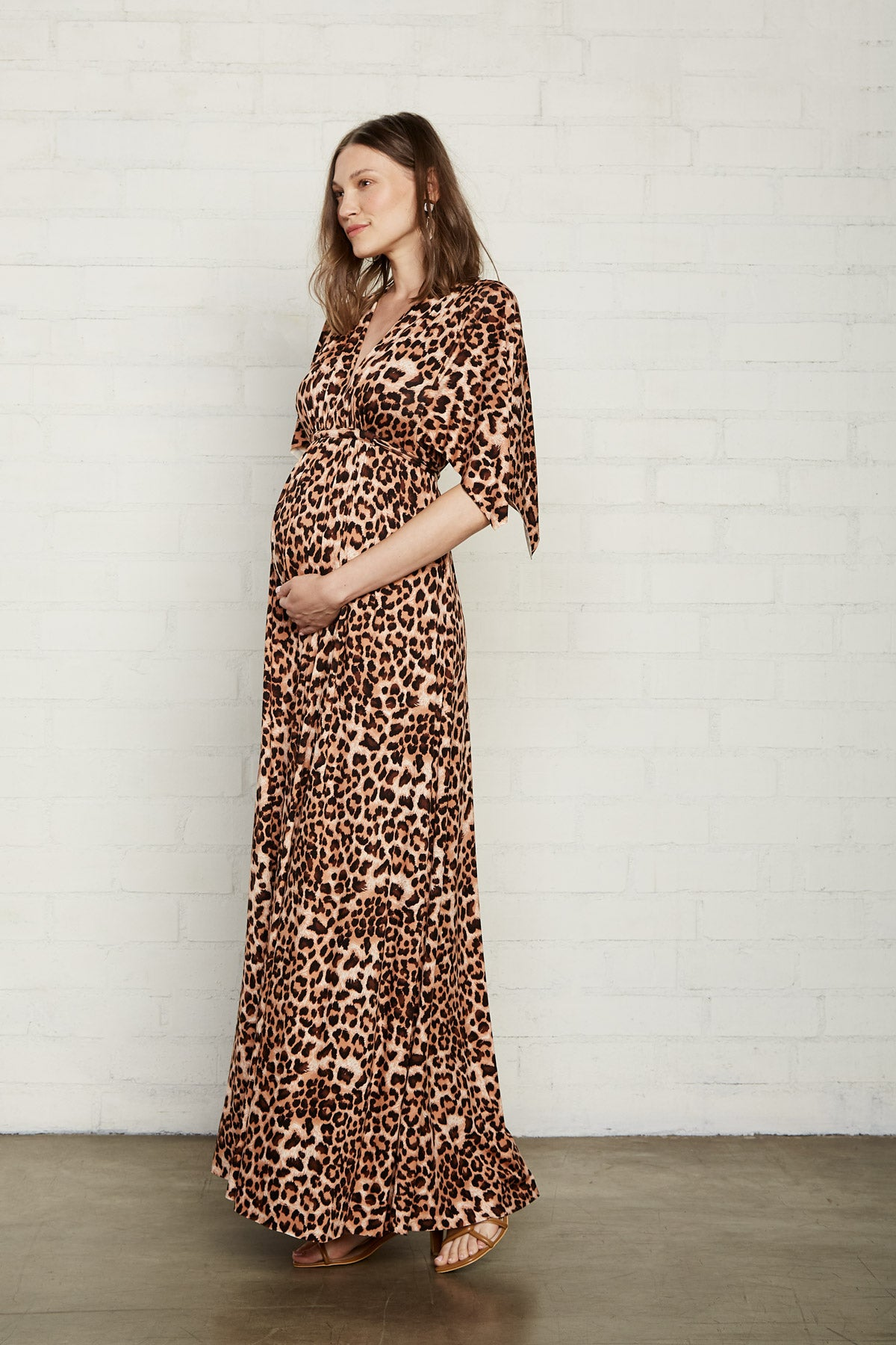 Long Caftan Dress - Leopard, Maternity