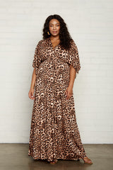 Long Caftan Dress - Leopard, Plus Size