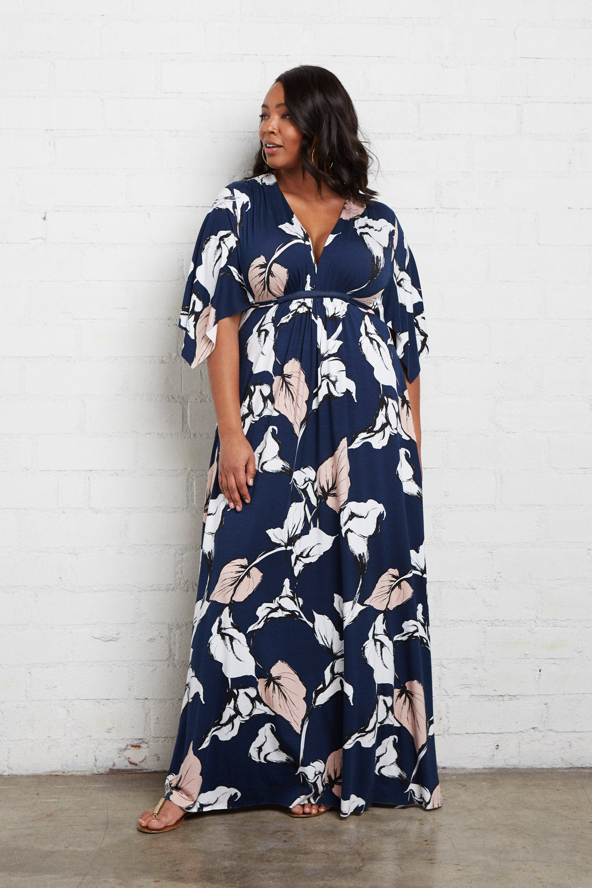 Long Caftan Dress - Navy Calla Print, Plus Size