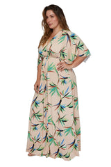 Long Caftan Dress - Paradise, Plus Size